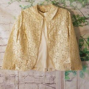 RARE 1960s Carol Craig cream lace 3 piece suit